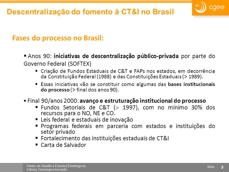 Centro de Gestão e Estudos Estratégicos Ciência, Tecnologia e Inovação Slide 5 Descentralização do fomento à CT&I no Brasil Fases do processo no Brasi