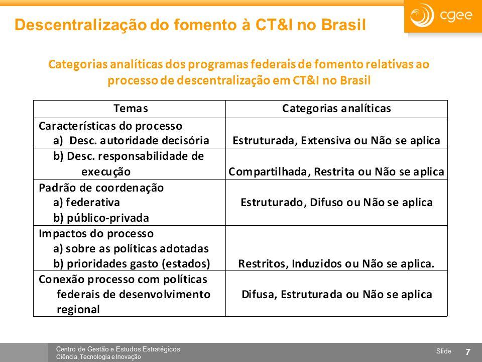 Centro de Gestão e Estudos Estratégicos Ciência, Tecnologia e Inovação Slide 7 Descentralização do fomento à CT&I no Brasil Categorias analíticas dos