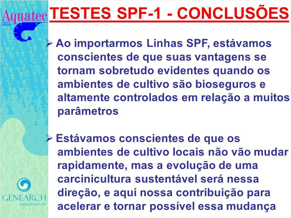 TESTES SPF-1 - CONCLUSÕES Ao importarmos Linhas SPF, estávamos conscientes de que suas vantagens se tornam sobretudo evidentes quando os ambientes de
