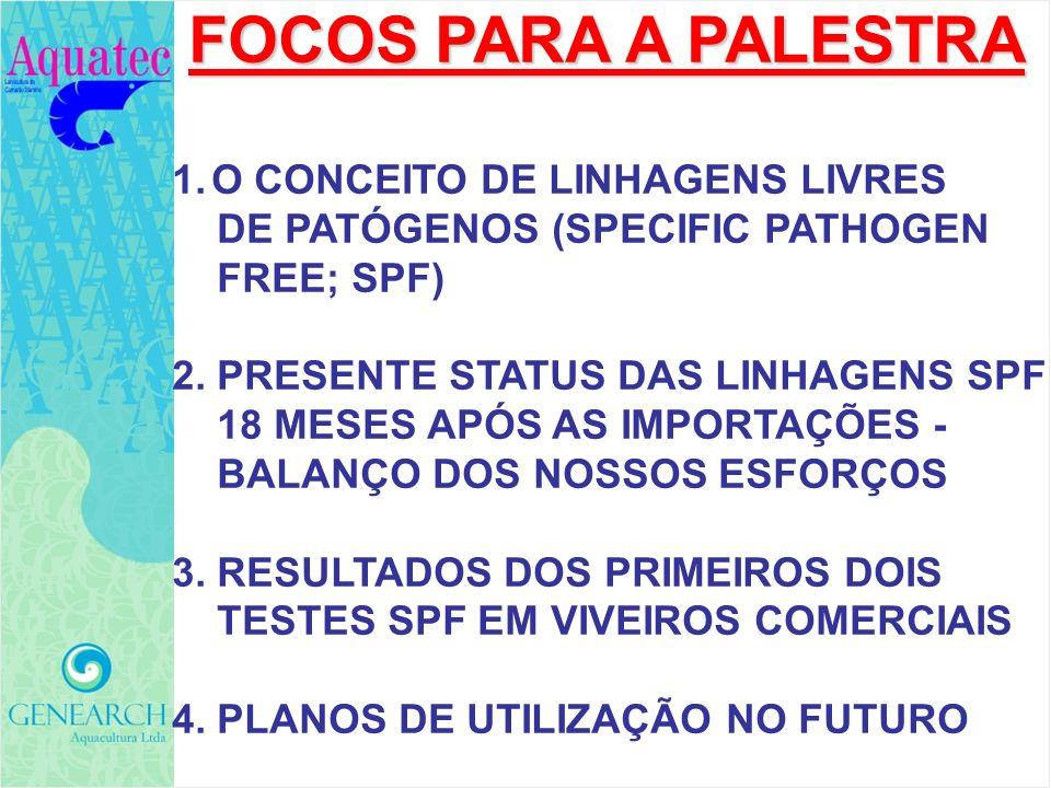 FOCOS PARA A PALESTRA FOCOS PARA A PALESTRA 1.O CONCEITO DE LINHAGENS LIVRES DE PATÓGENOS (SPECIFIC PATHOGEN FREE; SPF) 2. PRESENTE STATUS DAS LINHAGE