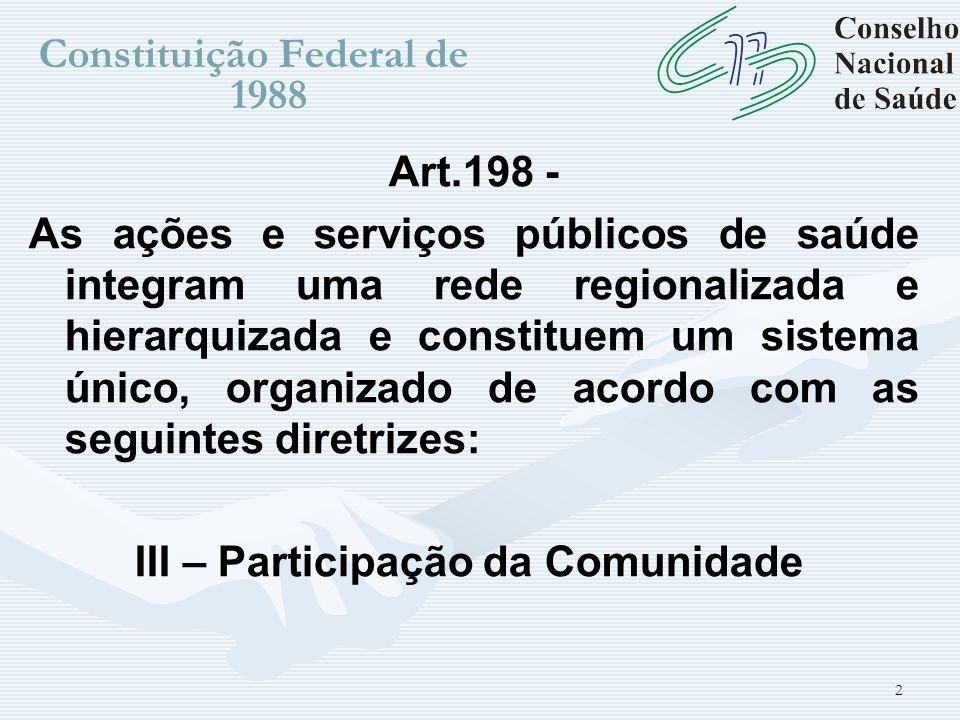 2 Constituição Federal de 1988 Art.198 - As ações e serviços públicos de saúde integram uma rede regionalizada e hierarquizada e constituem um sistema