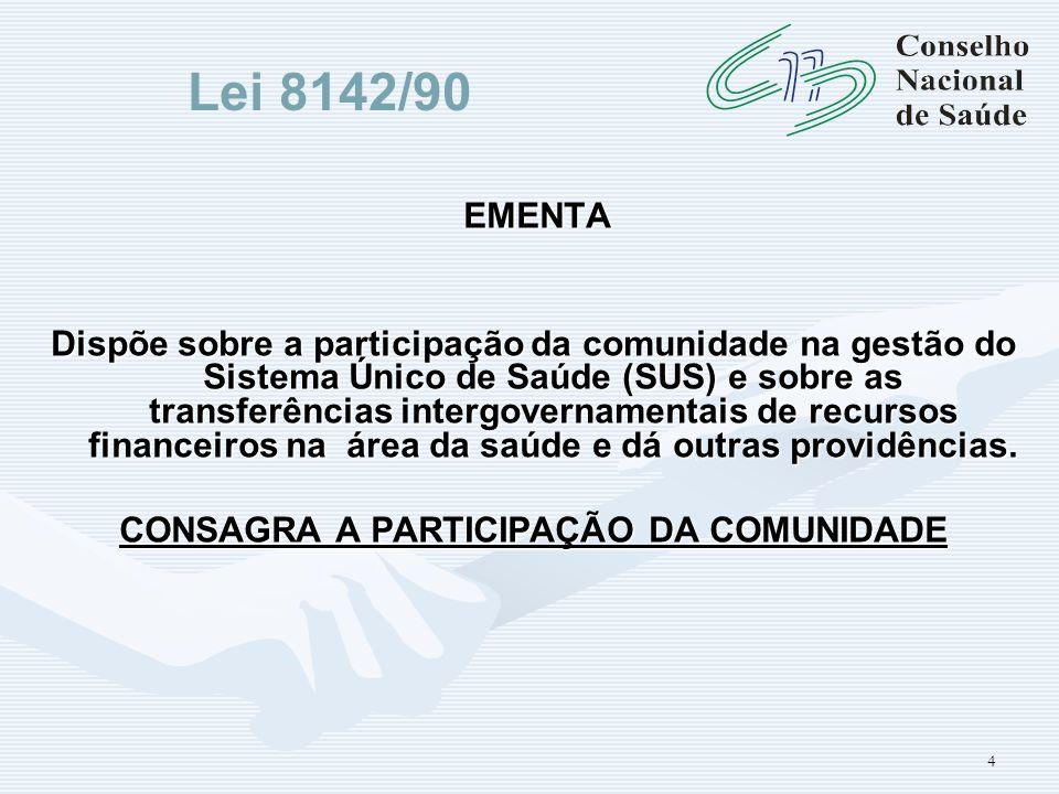 4 EMENTA Dispõe sobre a participação da comunidade na gestão do Sistema Único de Saúde (SUS) e sobre as transferências intergovernamentais de recursos