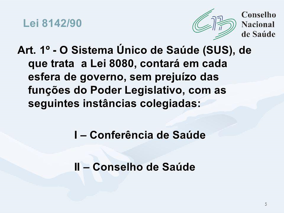 5 Art. 1º - O Sistema Único de Saúde (SUS), de que trata a Lei 8080, contará em cada esfera de governo, sem prejuízo das funções do Poder Legislativo,
