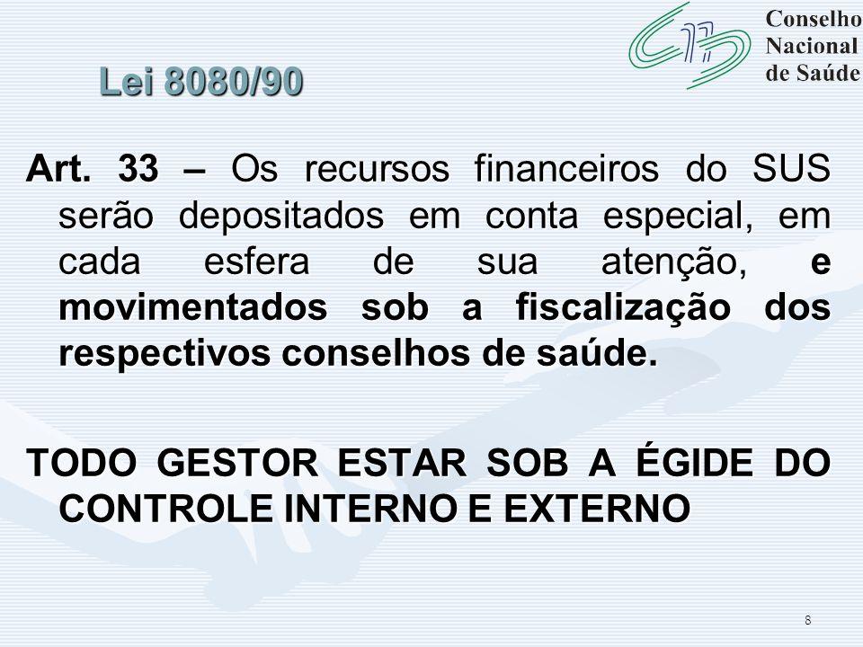 8 Lei 8080/90 Art. 33 – Os recursos financeiros do SUS serão depositados em conta especial, em cada esfera de sua atenção, e movimentados sob a fiscal