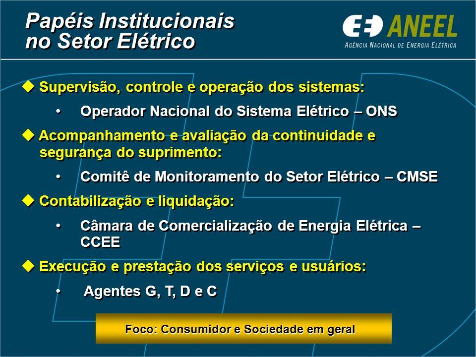 Papéis Institucionais no Setor Elétrico Políticas e diretrizes: Congresso Nacional Conselho Nacional de Política Energética (CNPE) – assessoramento pa