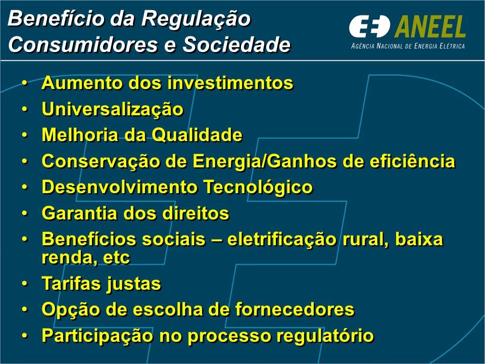 Regras claras e estáveis Remuneração adequada Competição Confiança Tratamento Isonômico Garantia do livre acesso T e D Oportunidade de novos negócios