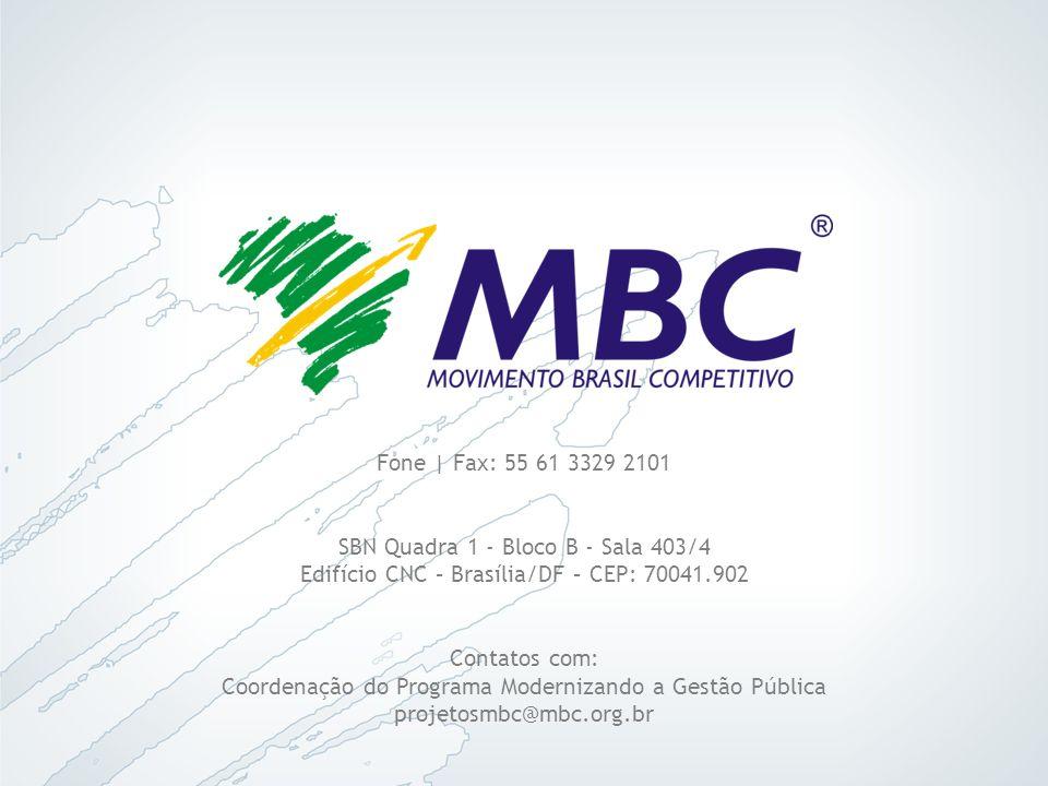Fone | Fax: 55 61 3329 2101 SBN Quadra 1 - Bloco B - Sala 403/4 Edifício CNC – Brasília/DF – CEP: 70041.902 Contatos com: Coordenação do Programa Mode