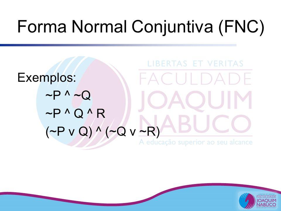 Forma Normal Conjuntiva (FNC) Exemplos: ~P ^ ~Q ~P ^ Q ^ R (~P v Q) ^ (~Q v ~R)