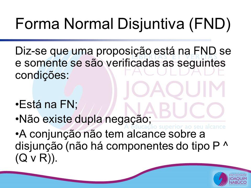 Forma Normal Disjuntiva (FND) Diz-se que uma proposição está na FND se e somente se são verificadas as seguintes condições: Está na FN; Não existe dup