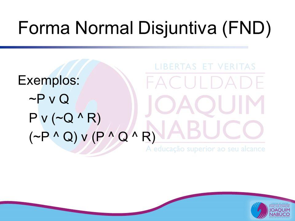 Forma Normal Disjuntiva (FND) Exemplos: ~P v Q P v (~Q ^ R) (~P ^ Q) v (P ^ Q ^ R)