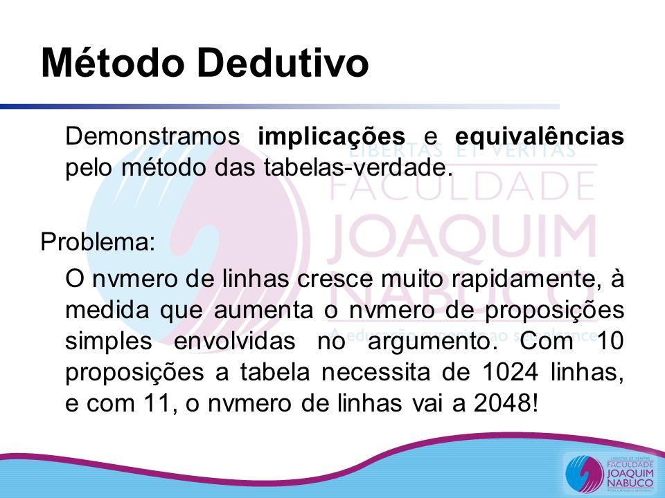 Método Dedutivo Demonstramos implicações e equivalências pelo método das tabelas-verdade. Problema: O nvmero de linhas cresce muito rapidamente, à med