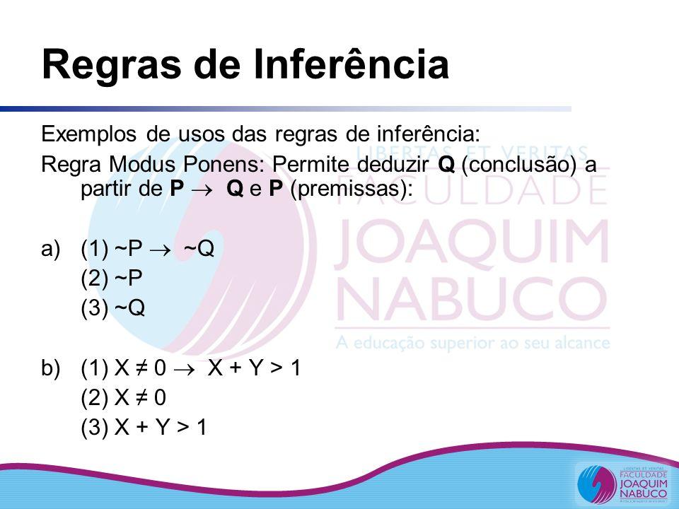 Regras de Inferência Exemplos de usos das regras de inferência: Regra Modus Ponens: Permite deduzir Q (conclusão) a partir de P Q e P (premissas): a)(