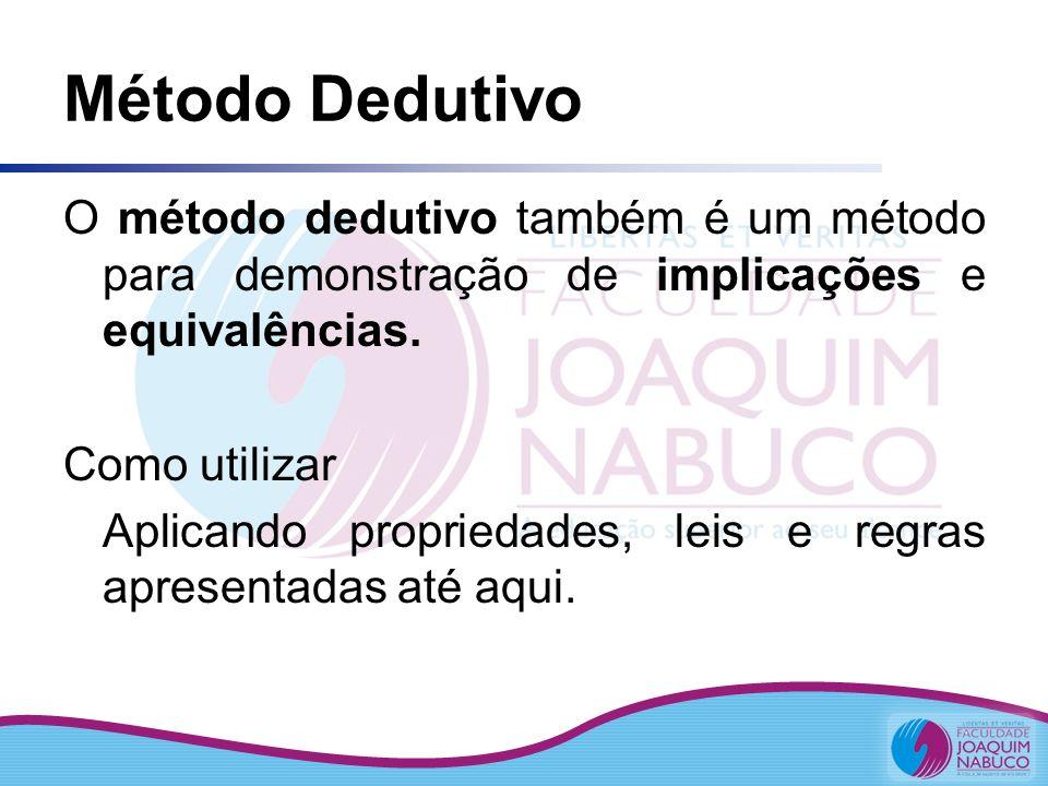 Método Dedutivo O método dedutivo também é um método para demonstração de implicações e equivalências. Como utilizar Aplicando propriedades, leis e re