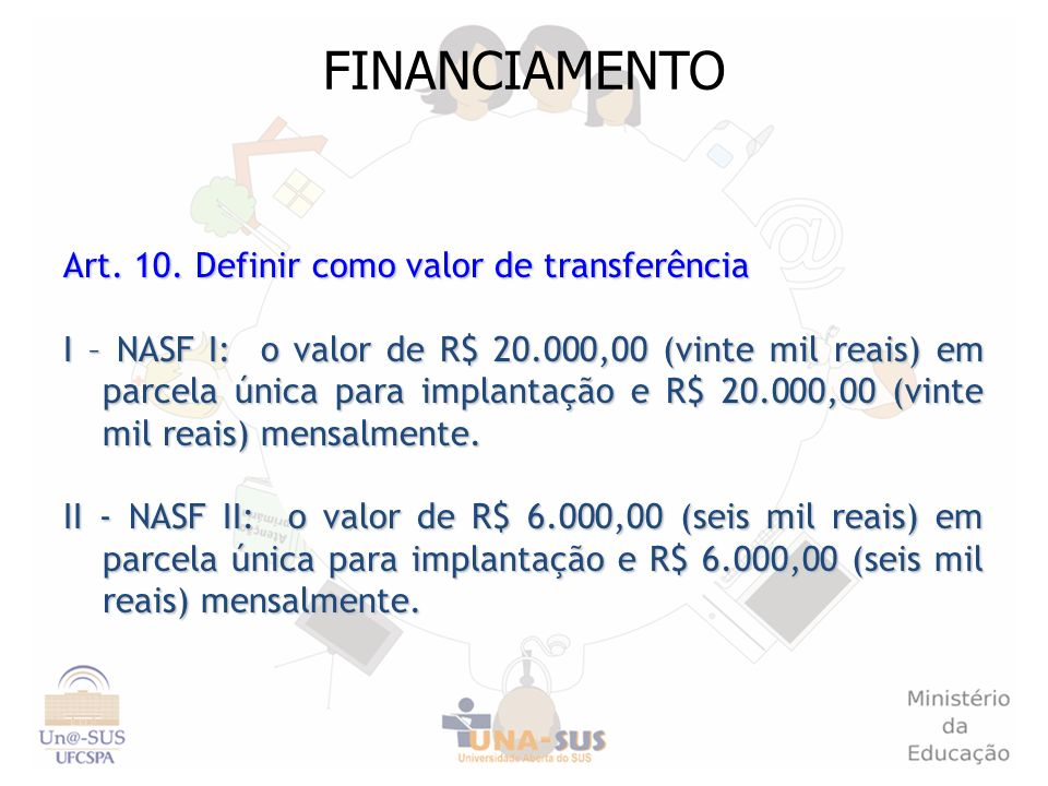 FINANCIAMENTO Art. 10. Definir como valor de transferência I – NASF I: o valor de R$ 20.000,00 (vinte mil reais) em parcela única para implantação e R