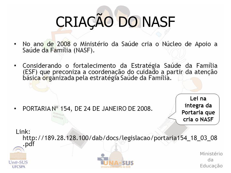 CRIAÇÃO DO NASF No ano de 2008 o Ministério da Saúde cria o Núcleo de Apoio a Saúde da Família (NASF). Considerando o fortalecimento da Estratégia Saú