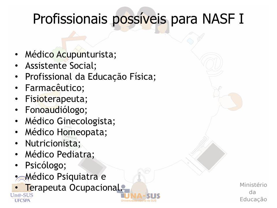 Profissionais possíveis para NASF I Médico Acupunturista; Assistente Social; Profissional da Educação Física; Farmacêutico; Fisioterapeuta; Fonoaudiól