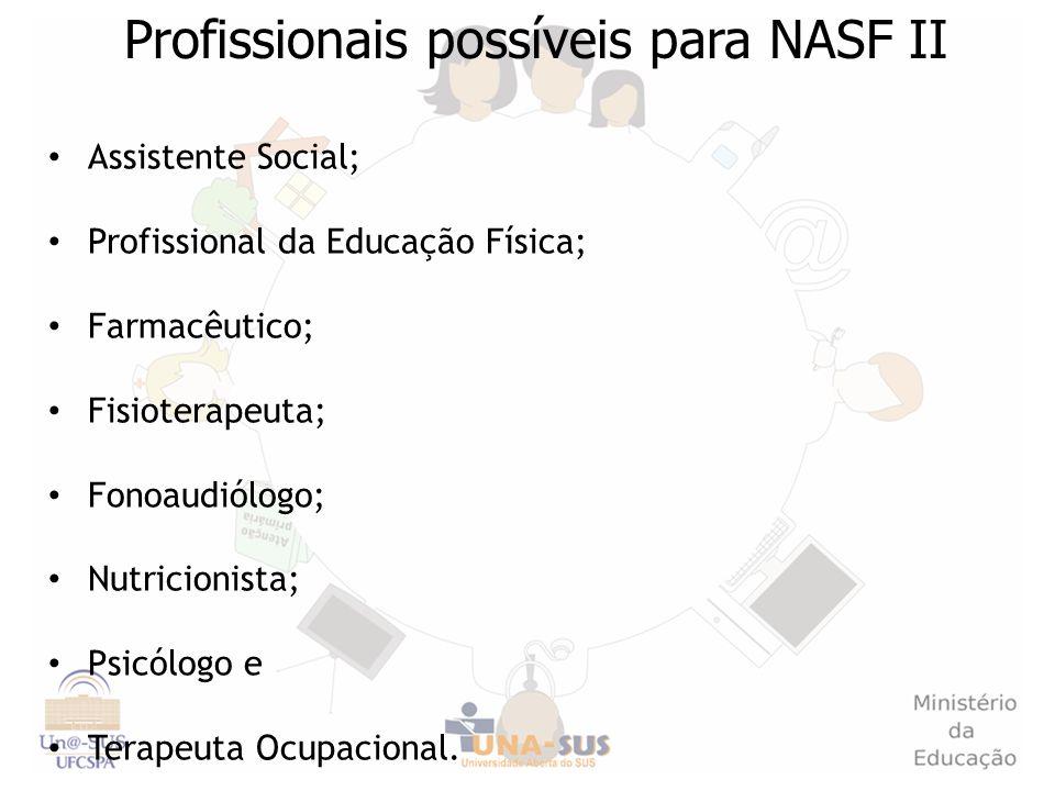 Assistente Social; Profissional da Educação Física; Farmacêutico; Fisioterapeuta; Fonoaudiólogo; Nutricionista; Psicólogo e Terapeuta Ocupacional. Pro