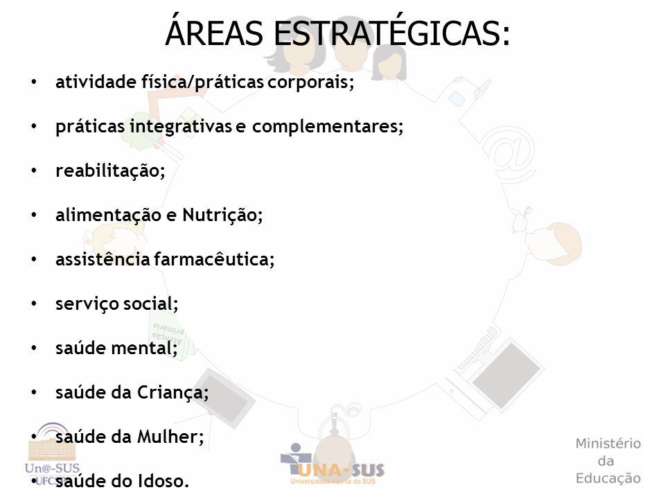 ÁREAS ESTRATÉGICAS: atividade física/práticas corporais; práticas integrativas e complementares; reabilitação; alimentação e Nutrição; assistência far