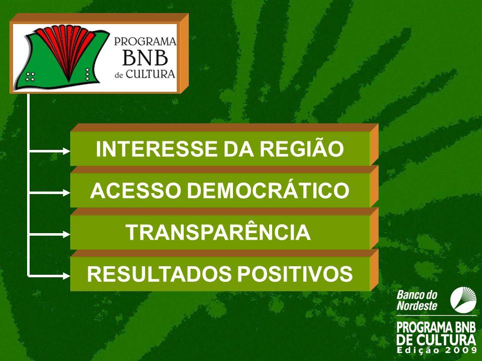 RESULTADOS POSITIVOS TRANSPARÊNCIA ACESSO DEMOCRÁTICO INTERESSE DA REGIÃO