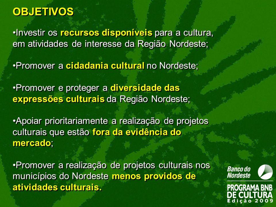Investir os recursos disponíveis para a cultura, em atividades de interesse da Região Nordeste; Promover a cidadania cultural no Nordeste; Promover e