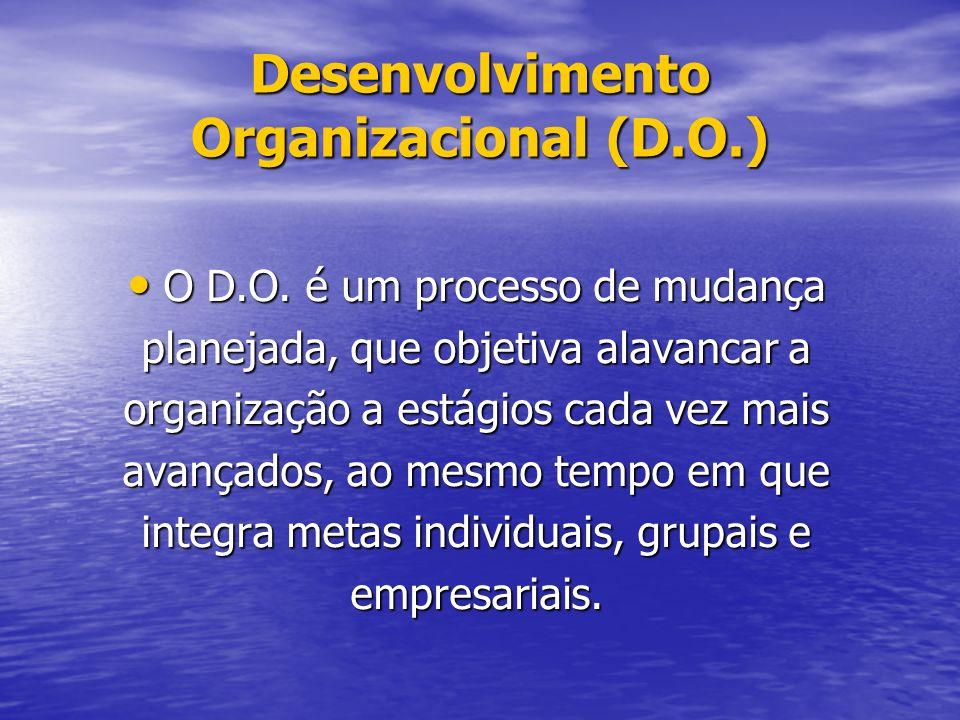 Desenvolvimento Organizacional (D.O.) O D.O.é um processo de mudança O D.O.