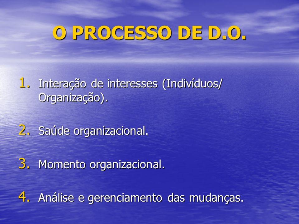 O PROCESSO DE D.O.1. Interação de interesses (Indivíduos/ Organização).