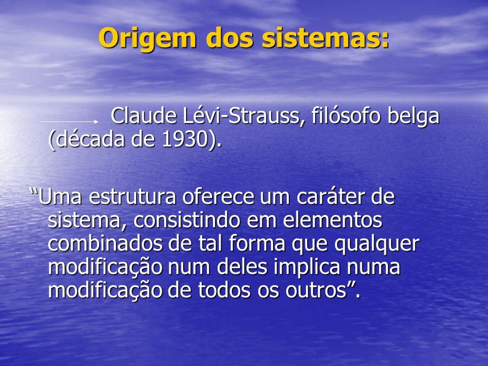 Origem dos sistemas: Claude Lévi-Strauss, filósofo belga (década de 1930).