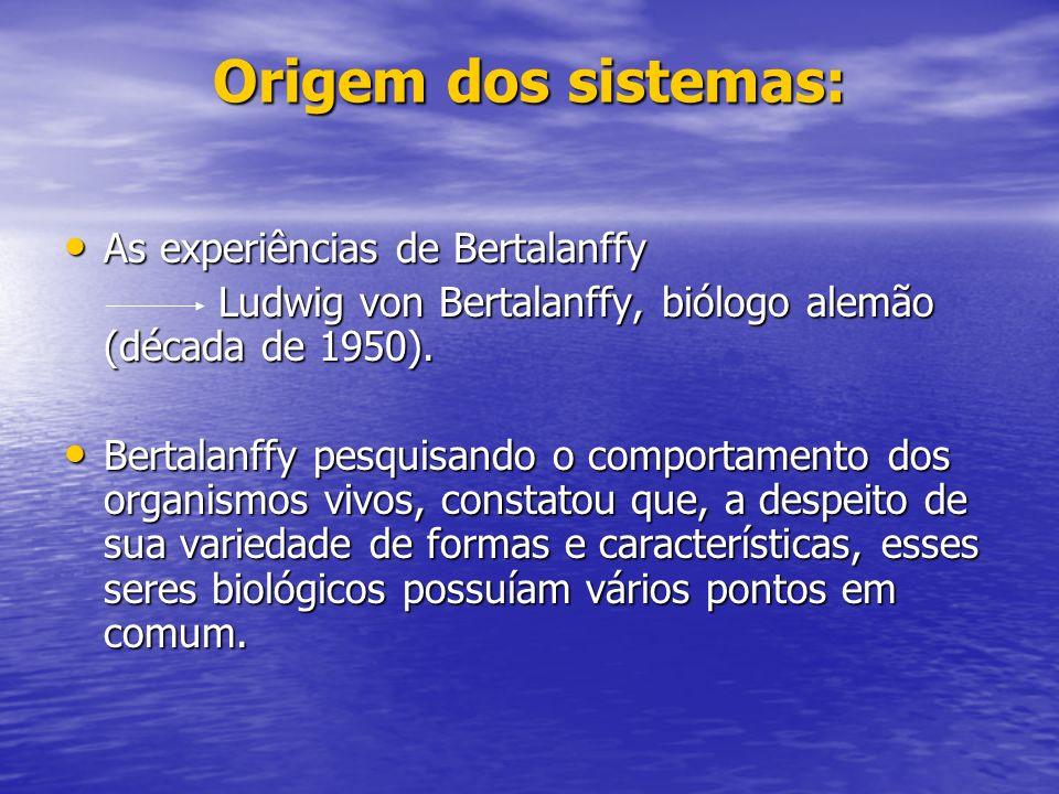 Origem dos sistemas: As experiências de Bertalanffy As experiências de Bertalanffy Ludwig von Bertalanffy, biólogo alemão (década de 1950).