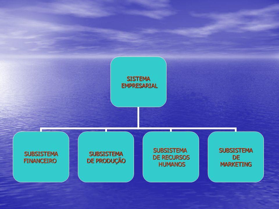 SISTEMA EMPRESARIAL EMPRESARIAL SUBSISTEMAFINANCEIROSUBSISTEMA DE PRODUÇÃO SUBSISTEMA DE RECURSOS HUMANOS HUMANOSSUBSISTEMADEMARKETING