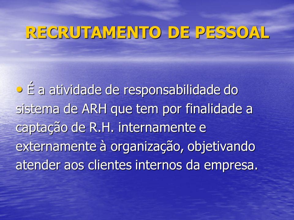 RECRUTAMENTO DE PESSOAL É a atividade de responsabilidade do É a atividade de responsabilidade do sistema de ARH que tem por finalidade a captação de R.H.