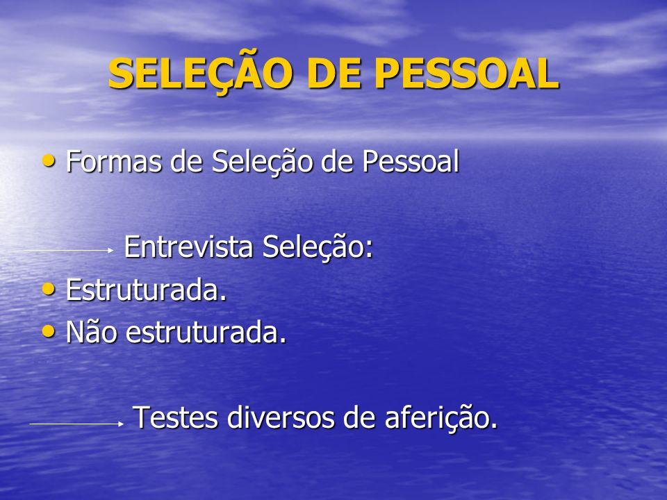 SELEÇÃO DE PESSOAL Formas de Seleção de Pessoal Formas de Seleção de Pessoal Entrevista Seleção: Entrevista Seleção: Estruturada.