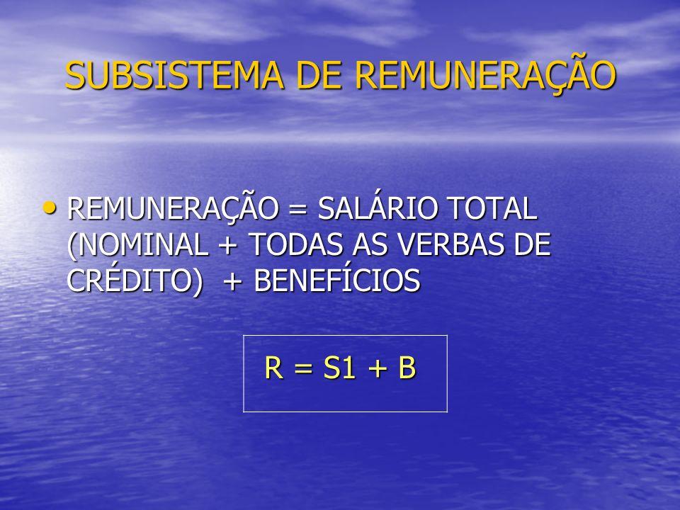SUBSISTEMA DE REMUNERAÇÃO REMUNERAÇÃO = SALÁRIO TOTAL (NOMINAL + TODAS AS VERBAS DE CRÉDITO) + BENEFÍCIOS REMUNERAÇÃO = SALÁRIO TOTAL (NOMINAL + TODAS AS VERBAS DE CRÉDITO) + BENEFÍCIOS R = S1 + B