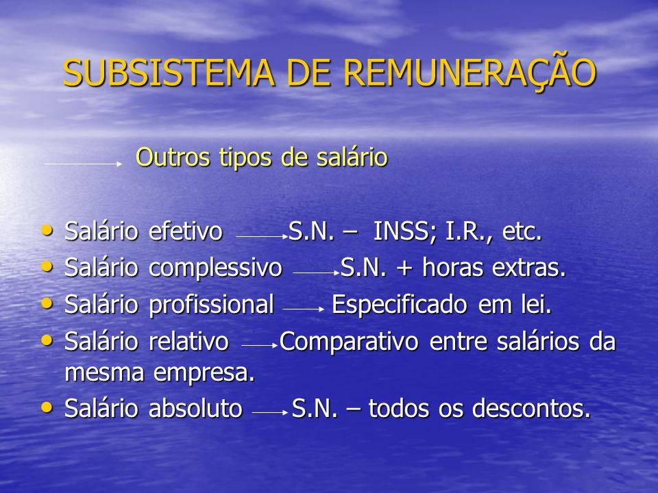 Outros tipos de salário Outros tipos de salário Salário efetivo S.N.