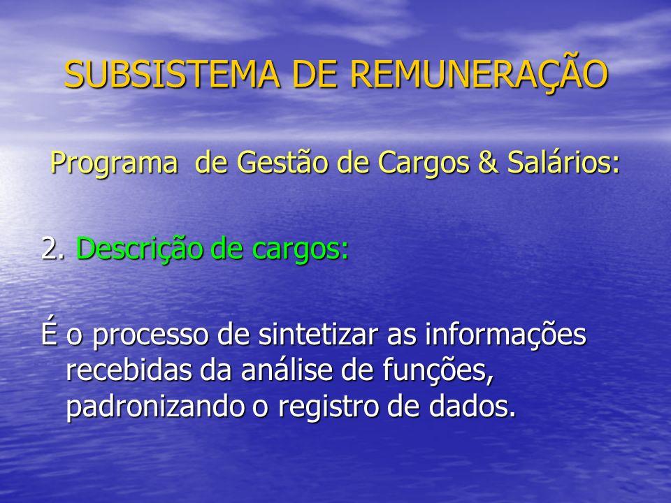 SUBSISTEMA DE REMUNERAÇÃO Programa de Gestão de Cargos & Salários: 2.