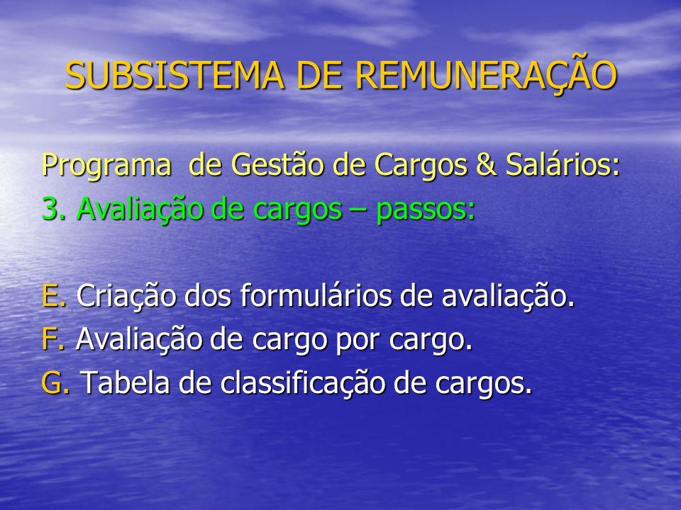 SUBSISTEMA DE REMUNERAÇÃO Programa de Gestão de Cargos & Salários: 3.
