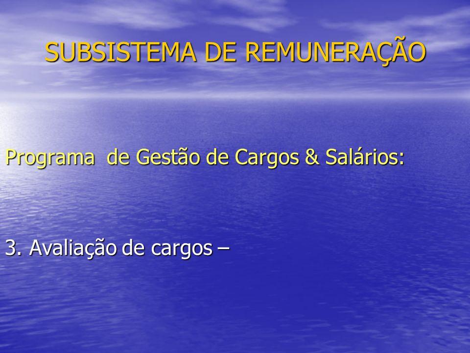 SUBSISTEMA DE REMUNERAÇÃO Programa de Gestão de Cargos & Salários: 3. Avaliação de cargos –