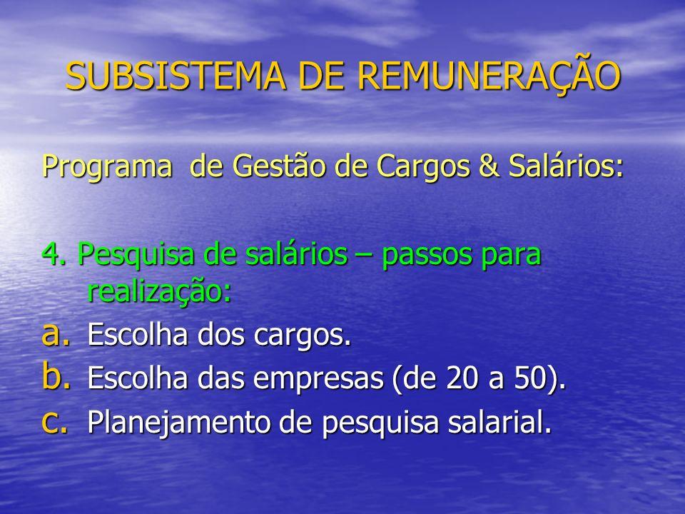 SUBSISTEMA DE REMUNERAÇÃO Programa de Gestão de Cargos & Salários: 4.