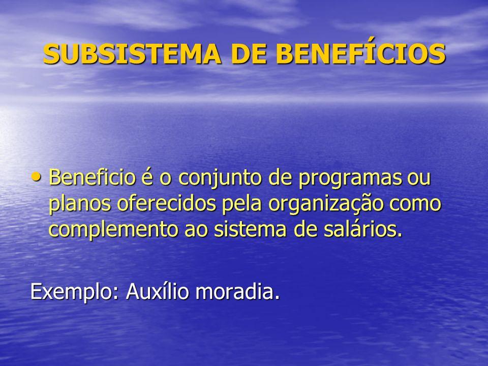 SUBSISTEMA DE BENEFÍCIOS Beneficio é o conjunto de programas ou planos oferecidos pela organização como complemento ao sistema de salários.