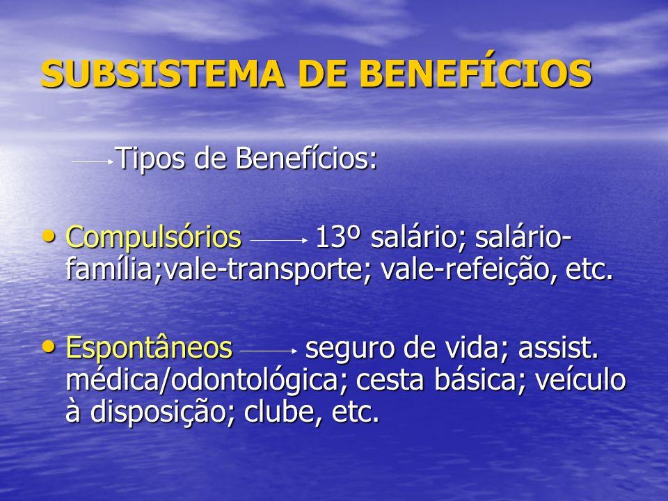 SUBSISTEMA DE BENEFÍCIOS Tipos de Benefícios: Tipos de Benefícios: Compulsórios 13º salário; salário- família;vale-transporte; vale-refeição, etc.