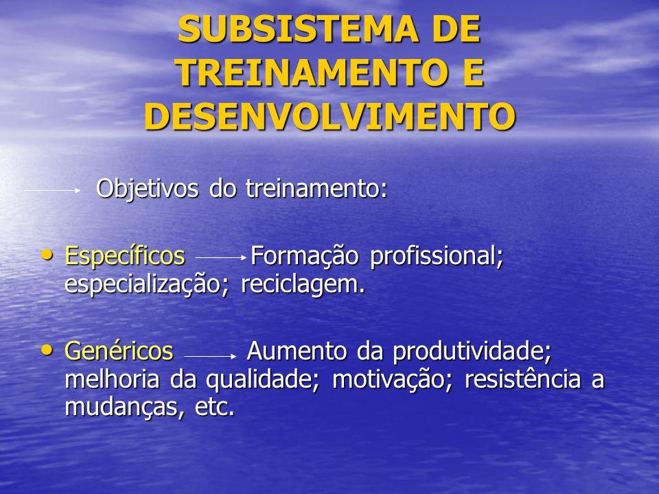 SUBSISTEMA DE TREINAMENTO E DESENVOLVIMENTO Objetivos do treinamento: Objetivos do treinamento: Específicos Formação profissional; especialização; reciclagem.