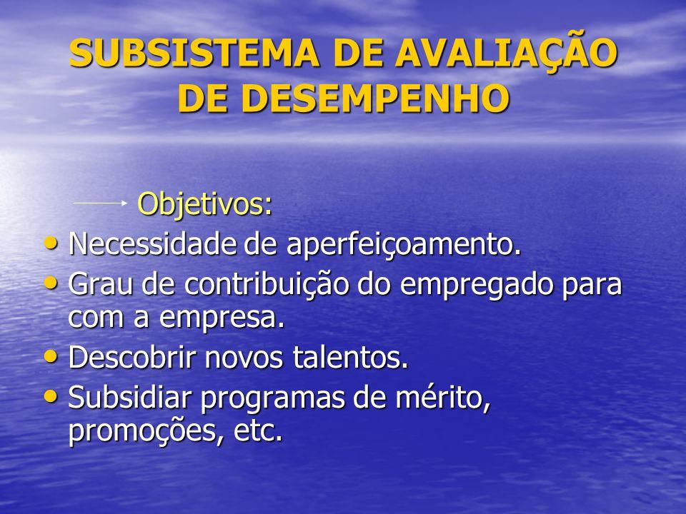 SUBSISTEMA DE AVALIAÇÃO DE DESEMPENHO Objetivos: Objetivos: Necessidade de aperfeiçoamento.
