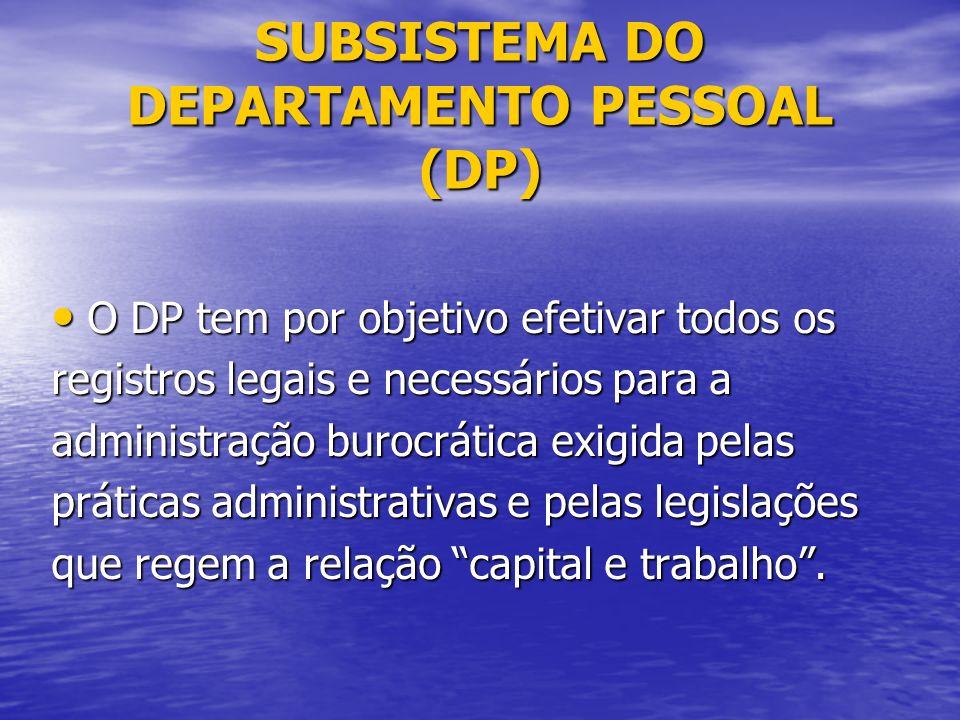 SUBSISTEMA DO DEPARTAMENTO PESSOAL (DP) O DP tem por objetivo efetivar todos os O DP tem por objetivo efetivar todos os registros legais e necessários para a administração burocrática exigida pelas práticas administrativas e pelas legislações que regem a relação capital e trabalho.