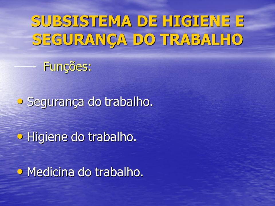 SUBSISTEMA DE HIGIENE E SEGURANÇA DO TRABALHO Funções: Funções: Segurança do trabalho.