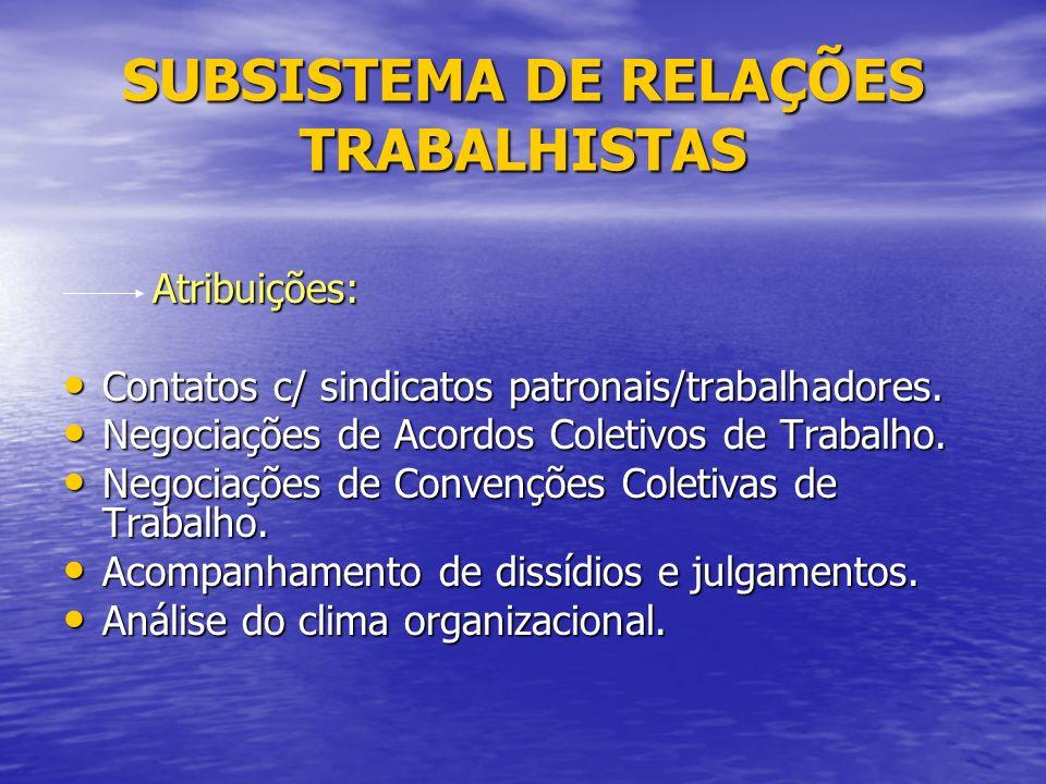 SUBSISTEMA DE RELAÇÕES TRABALHISTAS Atribuições: Atribuições: Contatos c/ sindicatos patronais/trabalhadores.