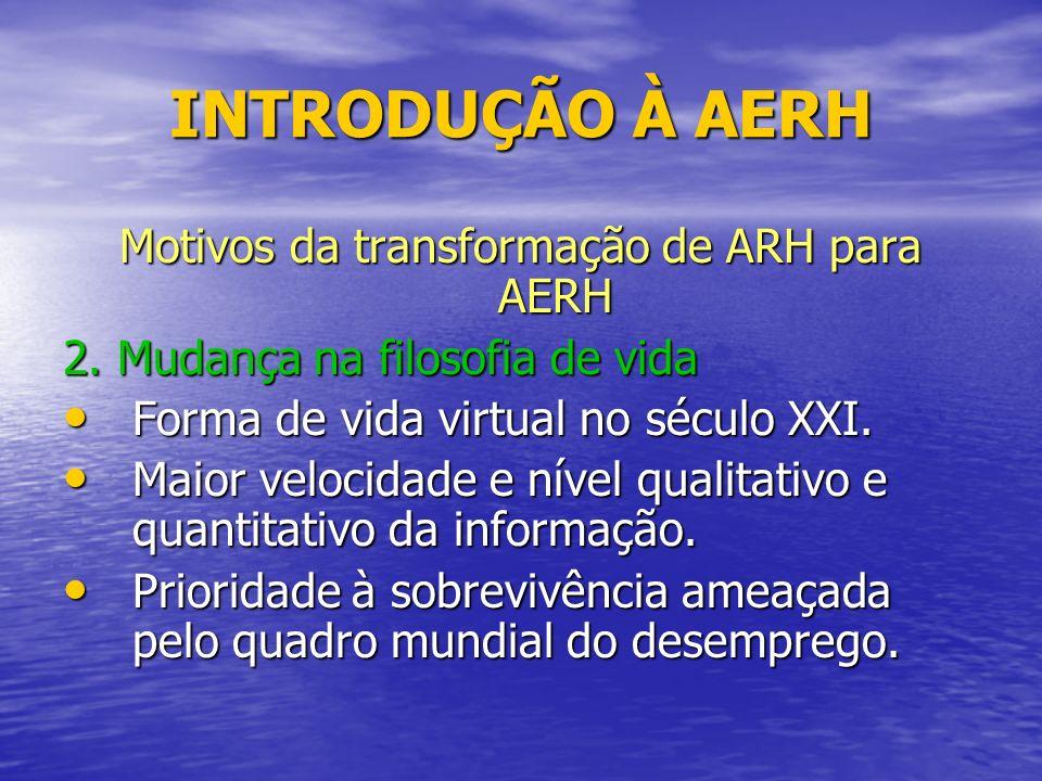INTRODUÇÃO À AERH Motivos da transformação de ARH para AERH 2.