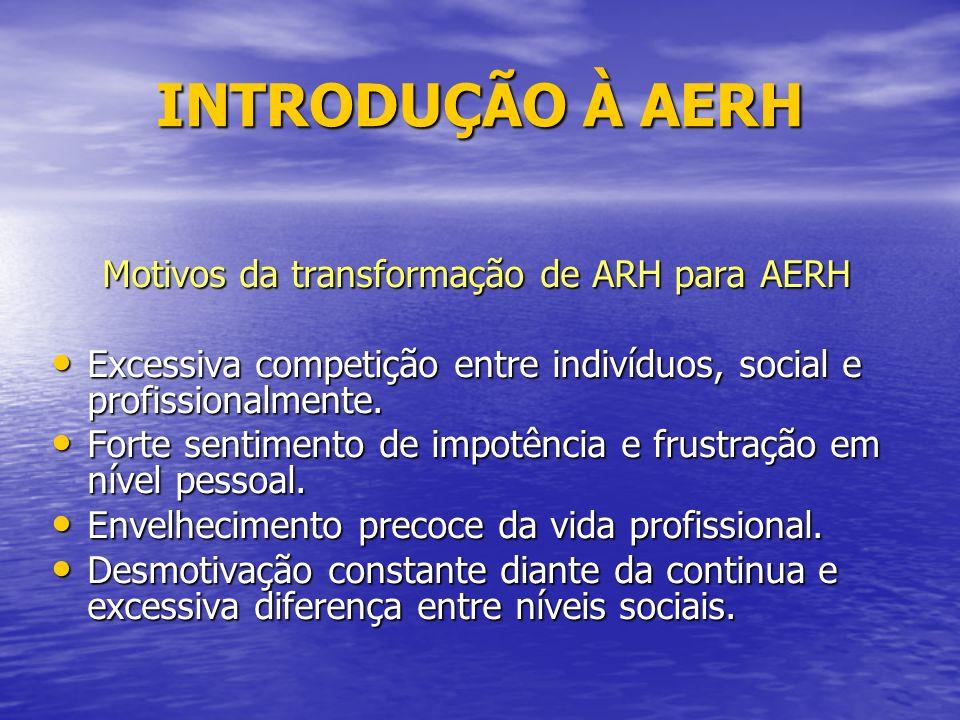 INTRODUÇÃO À AERH Motivos da transformação de ARH para AERH Excessiva competição entre indivíduos, social e profissionalmente.
