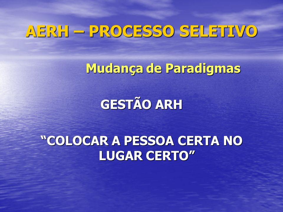 AERH – PROCESSO SELETIVO Mudança de Paradigmas Mudança de Paradigmas GESTÃO ARH COLOCAR A PESSOA CERTA NO LUGAR CERTO
