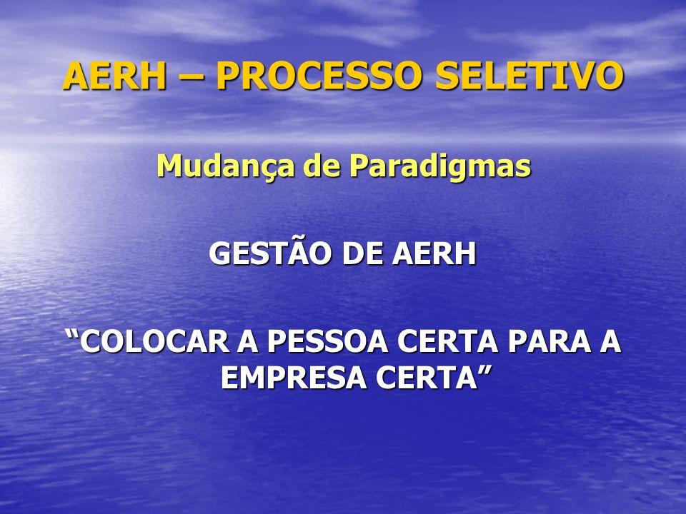 AERH – PROCESSO SELETIVO Mudança de Paradigmas GESTÃO DE AERH COLOCAR A PESSOA CERTA PARA A EMPRESA CERTA