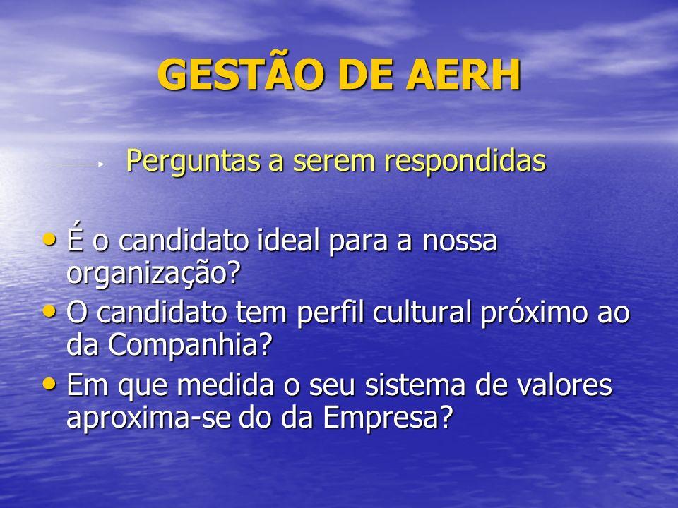 GESTÃO DE AERH Perguntas a serem respondidas Perguntas a serem respondidas É o candidato ideal para a nossa organização.