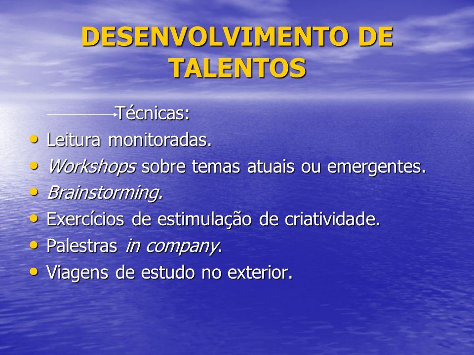 DESENVOLVIMENTO DE TALENTOS Técnicas: Técnicas: Leitura monitoradas.